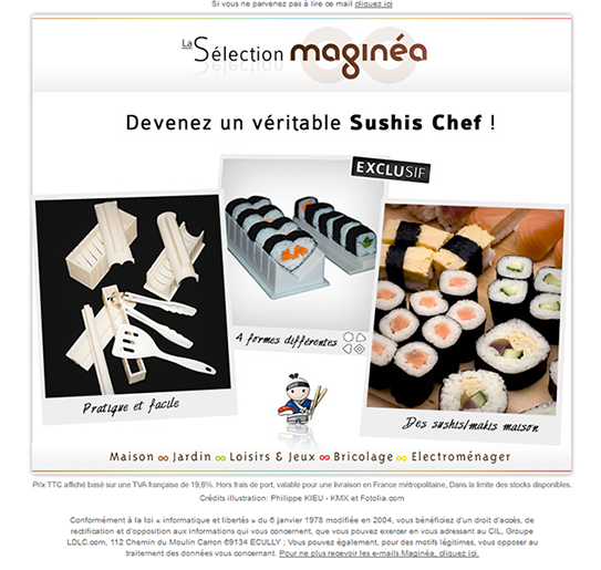 1, 2, 3 Sushi dans la newsletter Maginea